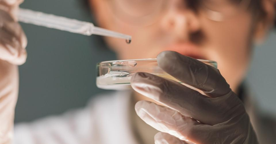 Osoba wlaboratorium bada próbkę